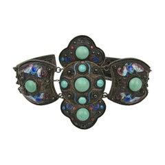 Chinese Enamel Turquoise Silver link  Bracelet
