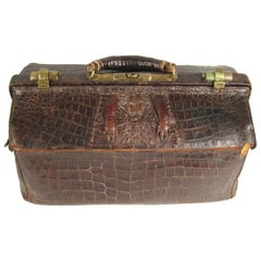 1880's LARGE Alligator Doctor's Bag