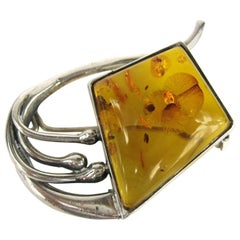 Modernist Sterling Silver Amber Pin Brooch