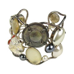 Stunning 1990s Philippe Ferrandis Pearl Cuff Bracelet Never worn