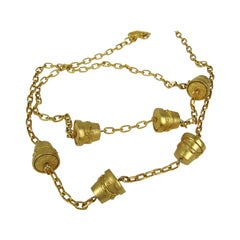 1990s Karl Lagerfeld Gold Gilt Sautoir Necklace New Never Worn