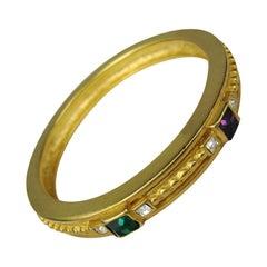 Givenchy Gold Gilt Crystal Bangle Bracelet New Never worn 1990s
