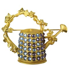 1990s Karl Lagerfeld Gilt Watering Can Brooch New Old Stock