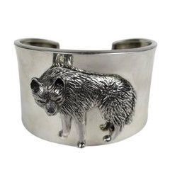 1990s Sterling Silver Carol Felley 3-D WOLF wide Cuff Bracelet Never worn