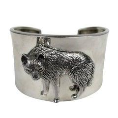 1990s Sterling Silver Carol Felley 3-D WOLF wide Cuff Bracelet Never worn