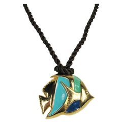 Escada 1980s Enamel Angel Fish on a Rope Necklace New, Never worn