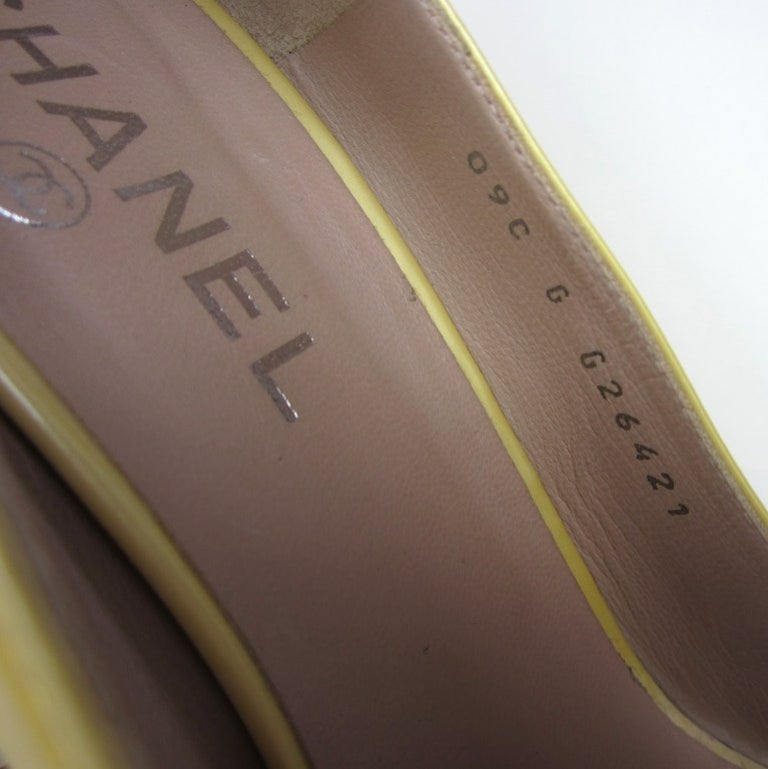 Chanel Patent Leather Open Toe Shoe with CC logo For Sale 3