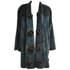Sheared Teal Green Mink Fur Swing Coat O/S w brown Rose Large Shawl collared
