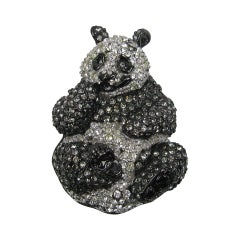 Swarovski Crystal Glitz Panda Bear Brooch Pin New, Never Worn 1980s