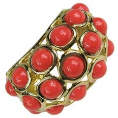 Vintage Kenneth J. Lane KJL Faux Coral Large Bangle Bracelet