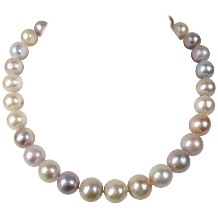 South Sea Baroque Cultured Multi Colored Pearl Necklace For Sale