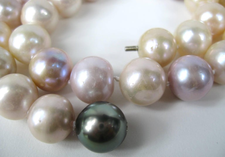 Women's South Sea Baroque Cultured Multi Colored Pearl Necklace For Sale