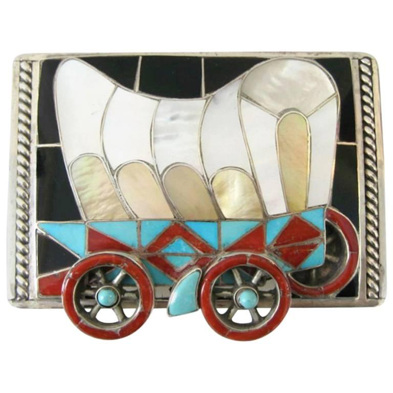 Native American Helen & Lincoln Zunie Wagon Sterling Silver Belt Buckle For Sale