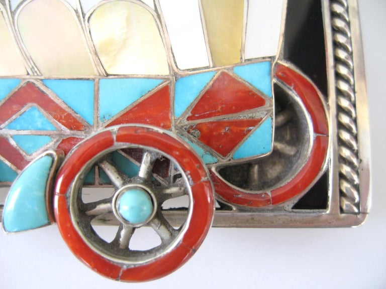 Women's or Men's Native American Helen & Lincoln Zunie Wagon Sterling Silver Belt Buckle For Sale
