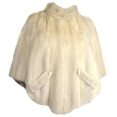 Pearl White Mink Fur Shrug Shawl Cape 1960s Double Sided