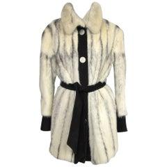 Black Cross Mink Fur Jacket / Suede Med - Large 1960s Mod