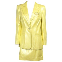 1990s ESCADA Pearl YELLOW Leather JACKET & SKIRT New, Never Worn