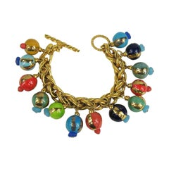 1980s Dominique Aurientis French Hand Painted Beaded bracelet New, Never Worn