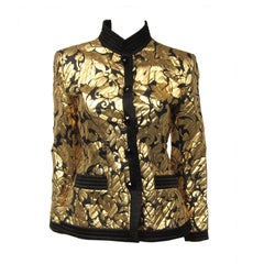Yves Saint Laurent Jacket Gold  & Black Silk Evening Jacket 38 YSL