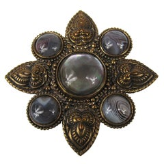 1990s Stephen Dweck Bronze Wash Silver Large Brooch New, Never Worn