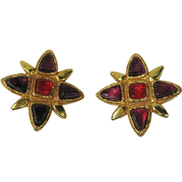 Dominique Denaive Hollywood Glam gold gilt Massive earrings For Sale