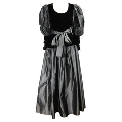 Yves Saint Laurent YSL Collection Silk Gown Velvet Black