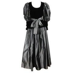Yves Saint Laurent YSL Collection Silk Gown Velvet Black