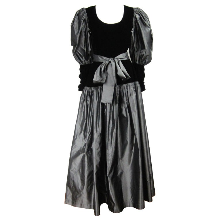 Yves Saint Laurent YSL Collection Silk Gown Velvet Black  For Sale