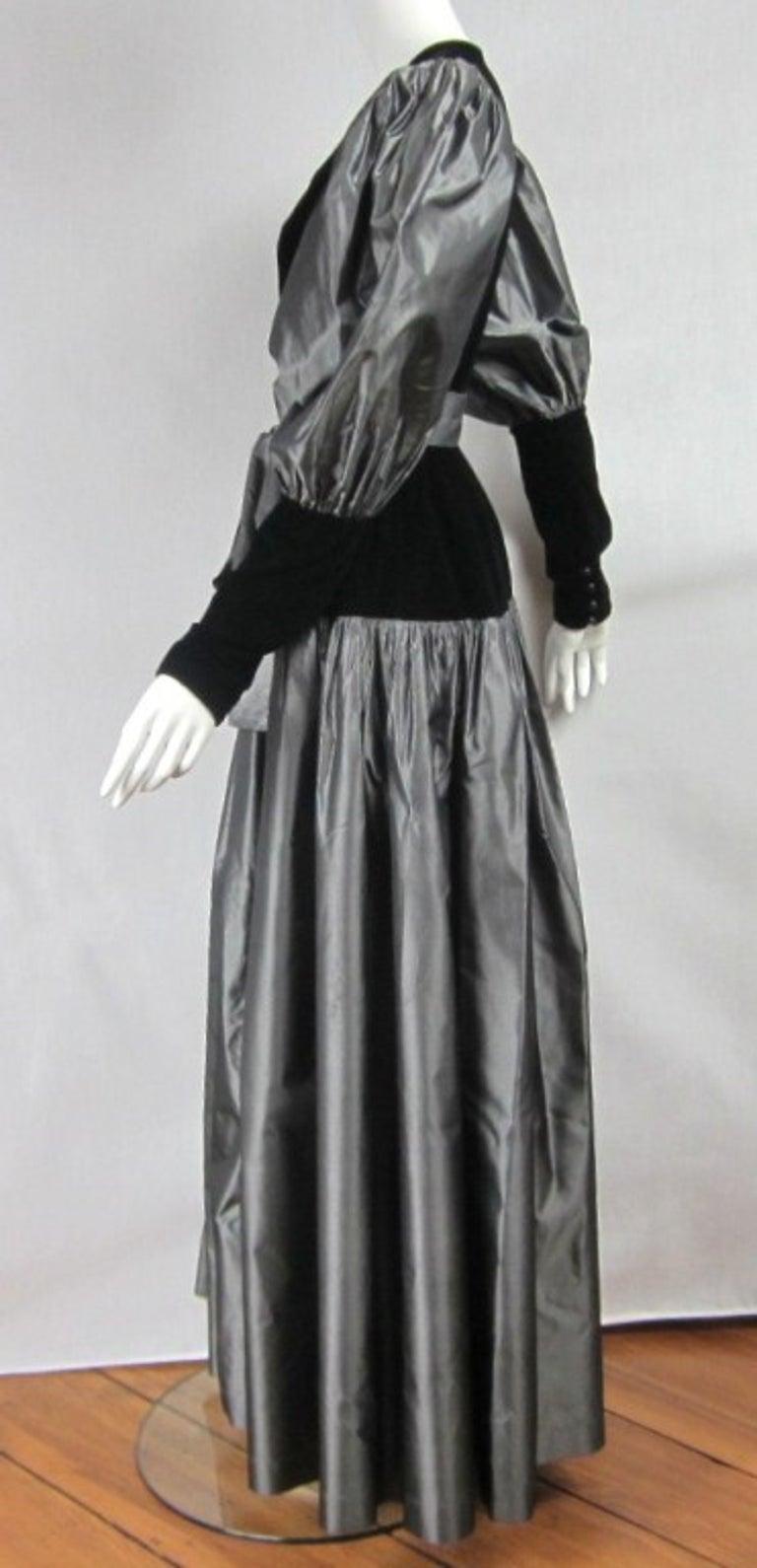 Women's Yves Saint Laurent YSL Collection Silk Gown Velvet Black  For Sale