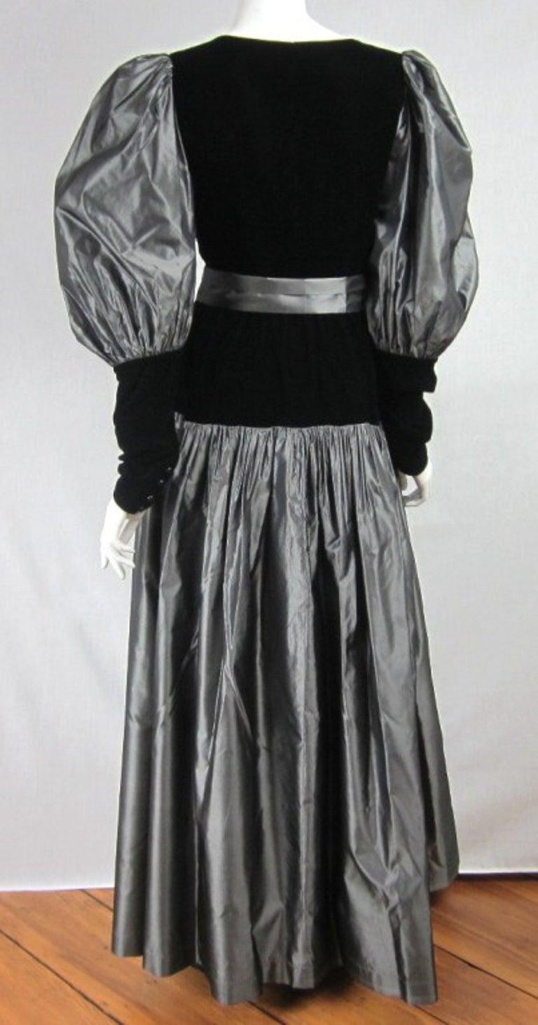 Yves Saint Laurent YSL Collection Silk Gown Velvet Black  For Sale 1