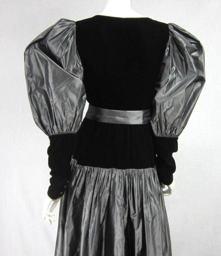 Yves Saint Laurent YSL Collection Silk Gown Velvet Black  For Sale 2