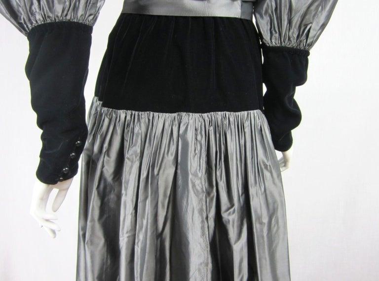 Yves Saint Laurent YSL Collection Silk Gown Velvet Black  For Sale 3