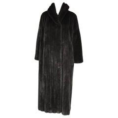 Michael Kors Black Ranch Mink Fur Coat wide Collar -Large
