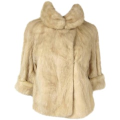 Cream Mink Vintage Bolero Jacket Wide Collar 1960s Hollywood Glam