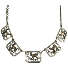 VIntage Sterling Silver 3-D Panel Deer Floral Necklace