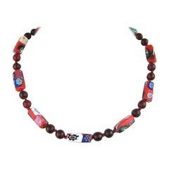 Vintage Venezianische Millefiori Rote Perlenhalskette