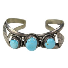 Navajo cuff sterling silver bracelet Turquoise pawn