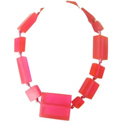 Neon Pink Ugo Correani Block Necklace New Never worn 1980s