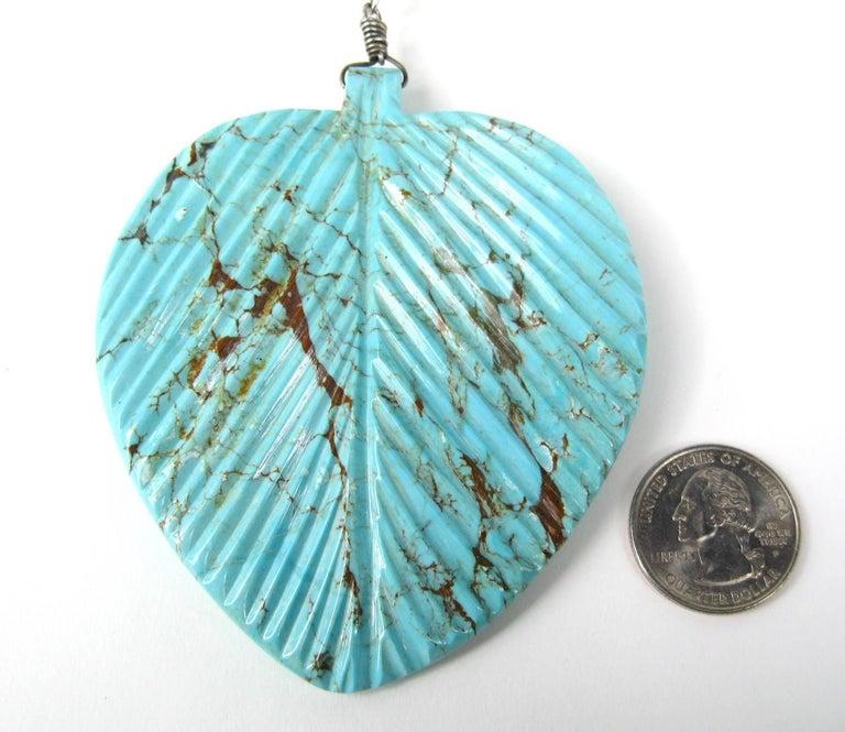 Native American Dead Pawn Zuni Türkis Blatt Rondelle Sterling Silber Halskette 2