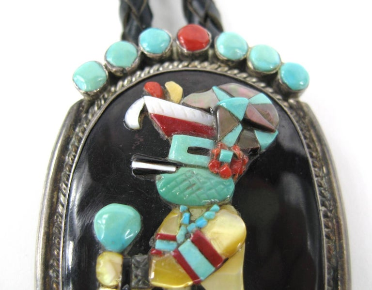 Black  Sterling Silver Native American Turquoise & Coral Zuni Dancer Bolo Tie 1970s For Sale