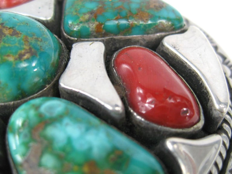 Sterling Silver Native American Turquoise and Coral Belt Buckle by Vandever In Good Condition For Sale In Wallkill, NY