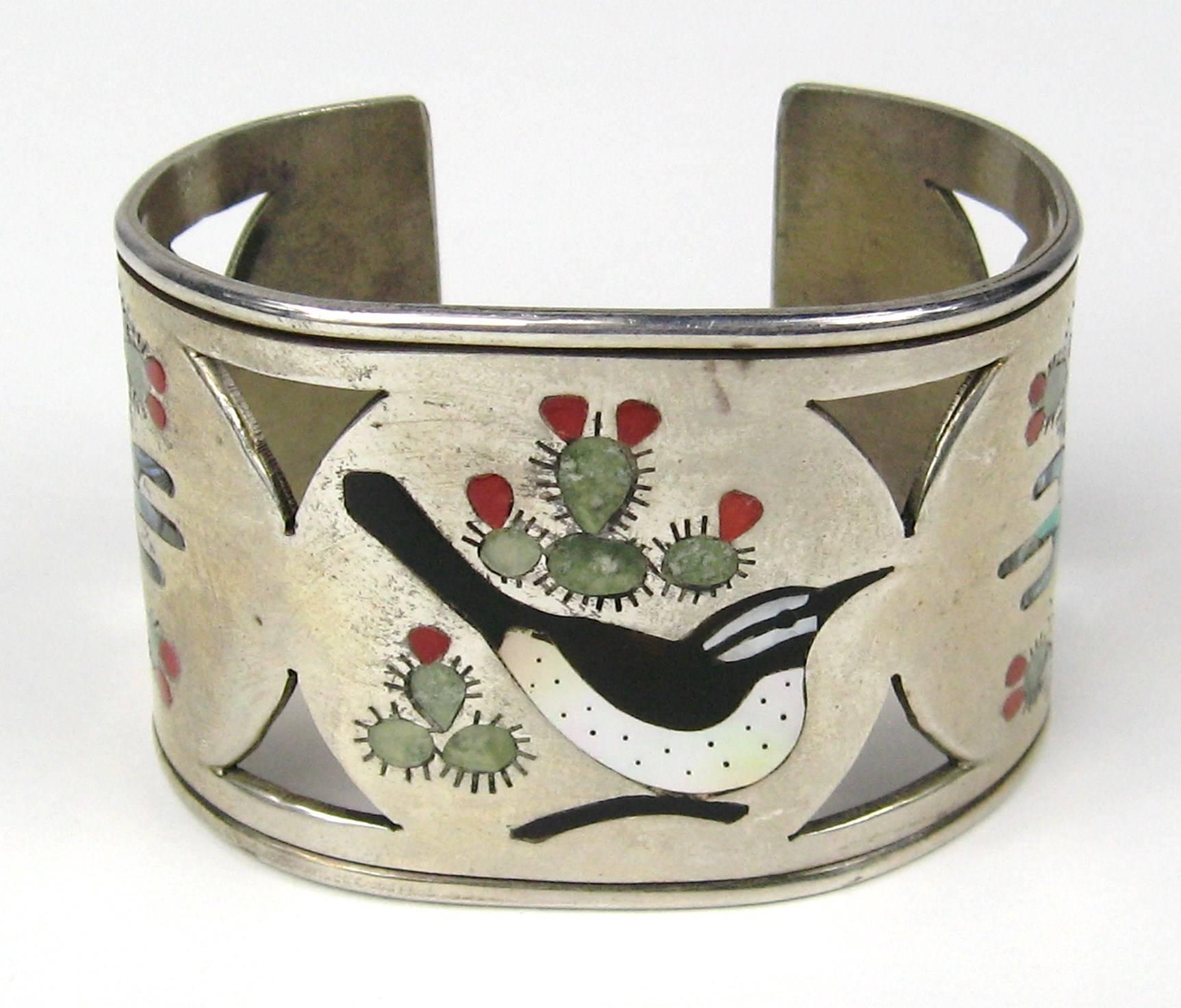 14be9042541 Sterling Silver ZUNI Cuff Bird Cactus Coral Mother of pearl Bracelet For  Sale at 1stdibs