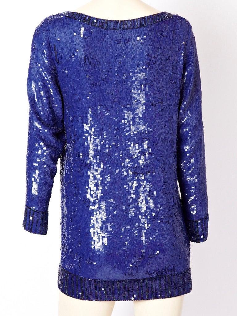 Yves Saint Laurent Sapphire Blue Sequined Tunic 3