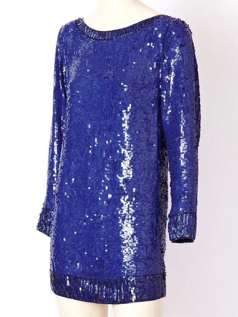 Yves Saint Laurent Sapphire Blue Sequined Tunic 2