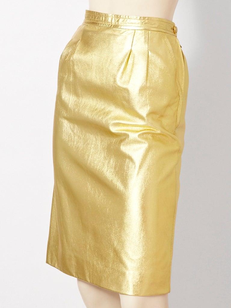 Yves Saint Laurent Gold Leather Skirt at 1stdibs
