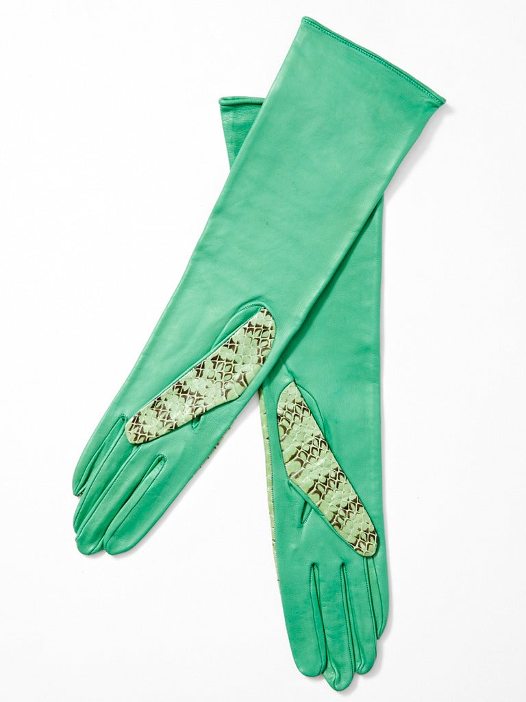 Green Yves Saint Laurent Python and Leather Gloves For Sale