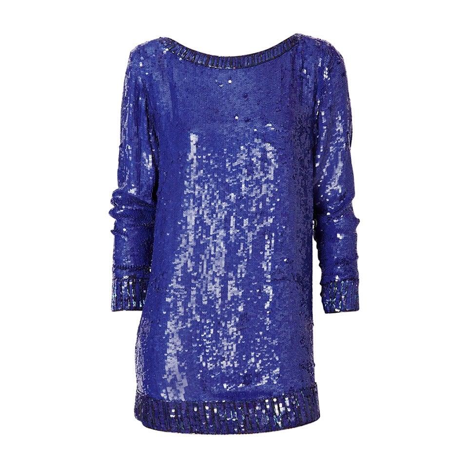 Yves Saint Laurent Sapphire Blue Sequined Tunic 1