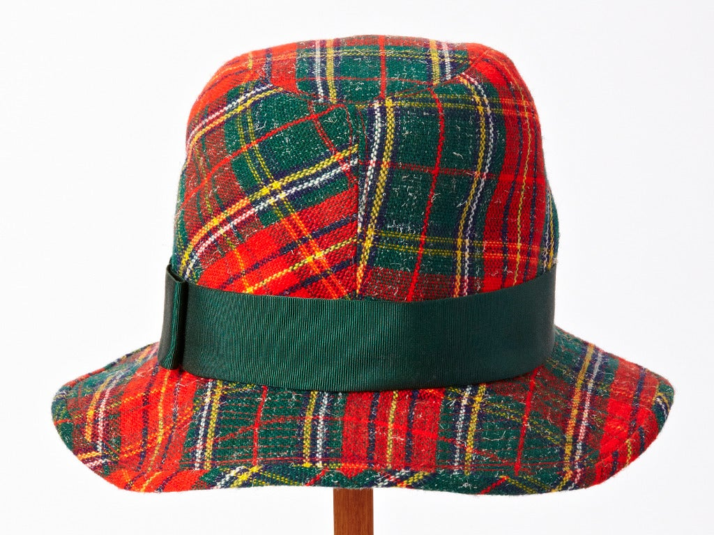 Yves Saint Laurent Tartan Plaid Tweed Hat 4