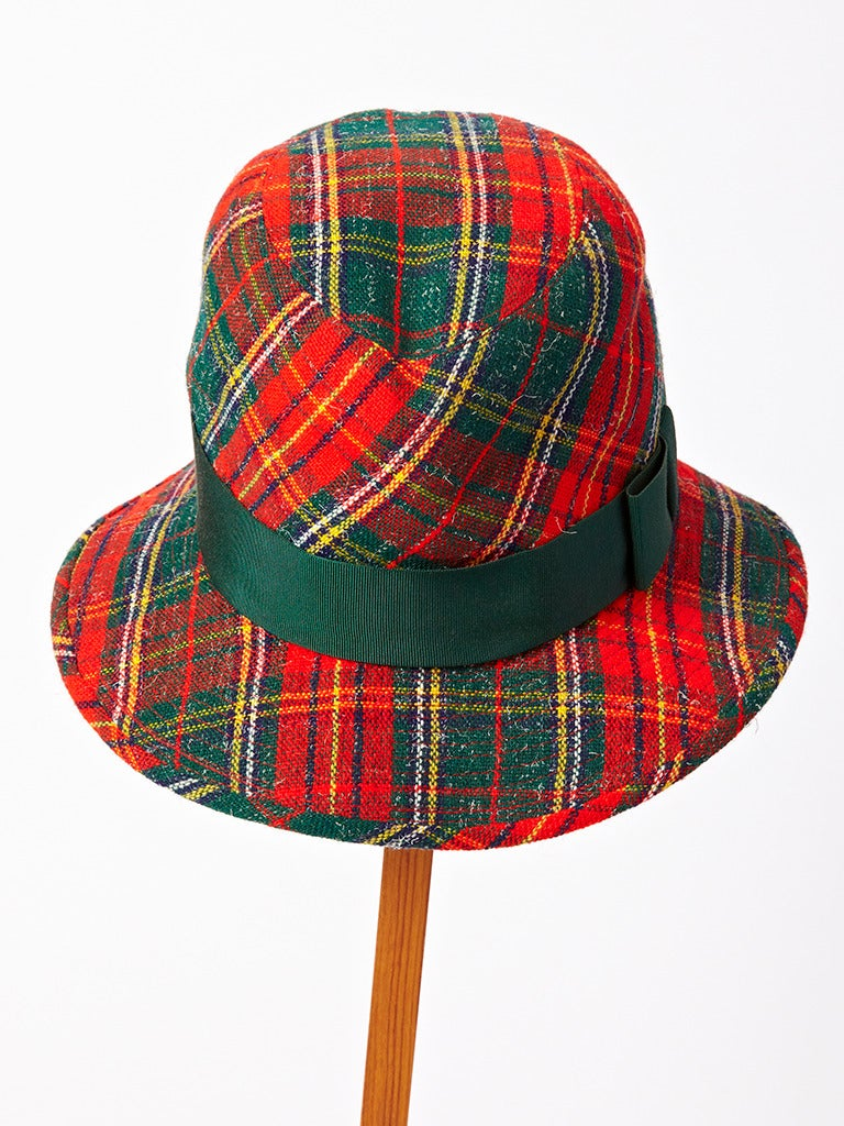 Yves Saint Laurent Tartan Plaid Tweed Hat 3