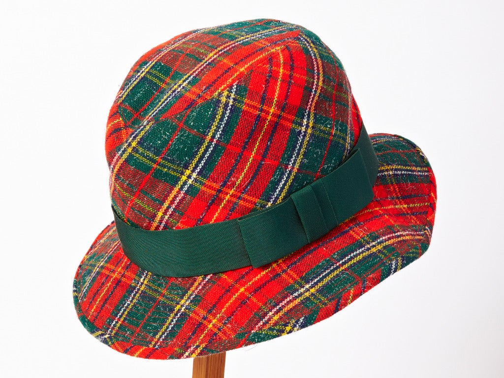 Yves Saint Laurent Tartan Plaid Tweed Hat 2